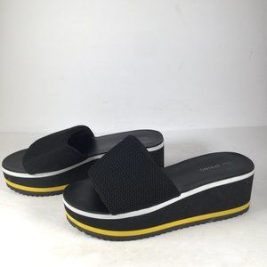 Call It Spring Platform Wedge Sandal Black Size 8